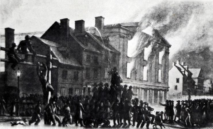 Image of Pennsylvania Hall burning